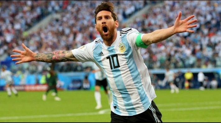 Messi, celebrando un gol con Argentina.