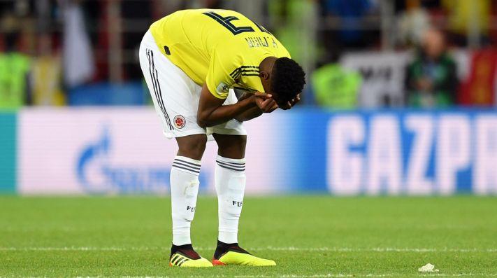 SIN PALABRAS. La tristeza de Yerry Mina después de la eliminación de Colombia