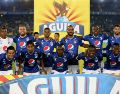 BOGOTA, COLOMBIA - APRIL 07: The players of Millonarios, pose for a photo, prior a  match between Millonarios and C?cuta as part of  Liga Aguila 2019 at Estadio Nemesio Camacho on April 07, 2019 in Bogota, Colombia. (Photo by Luis Ramirez/Vizzor Image/Getty Images)