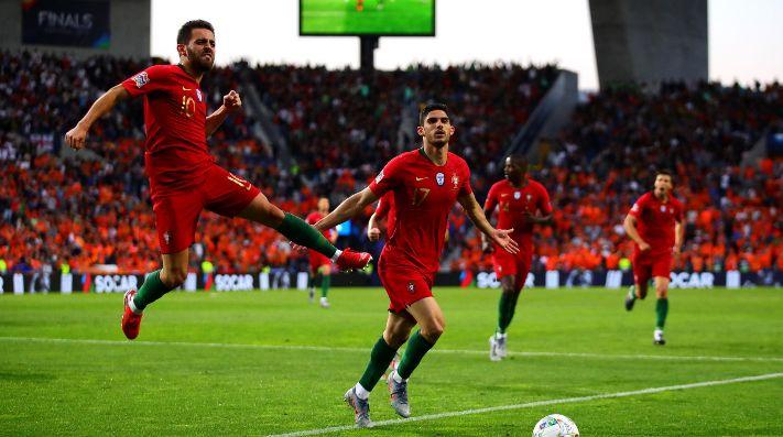 El festejo de Portugal frente a Holanda.