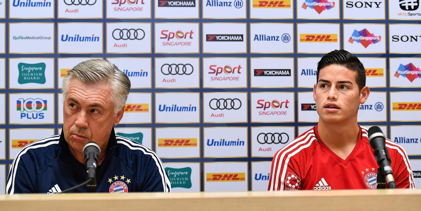 Ancelotti y James en el Bayern Munich.