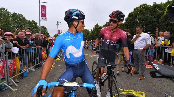 Nairo Quintana y Egan Bernal en el Tour de Francia 2019.