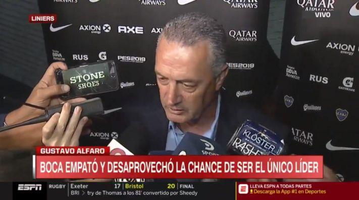 Gustavo Alfaro luego del empate de Boca.