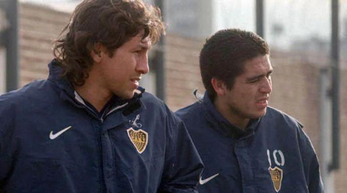 Jorge Bermúdez y Juan Román Riquelme, juntos en Boca.