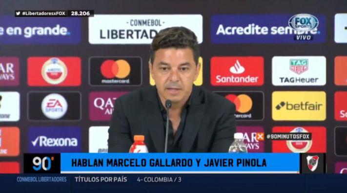Marcelo Gallardo en conferencia de prensa.