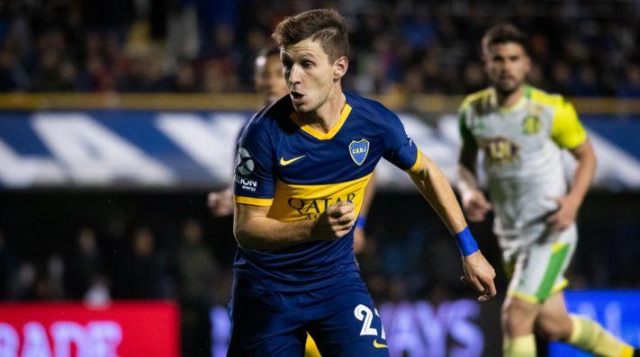 Franco Soldano defendiendo la camiseta de Boca.