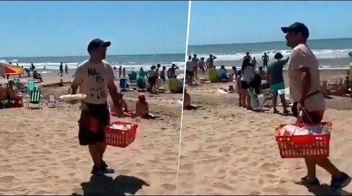 Lo filmaron en la playa vendiendo