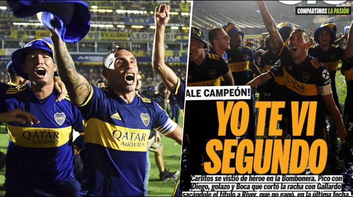 Foto de Carlos Tevez y la tapa del diario Olé.