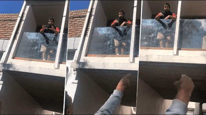 Video: colgó una bandera de Inglaterra en su balcón y un ex combatiente de Malvinas estalló de furia