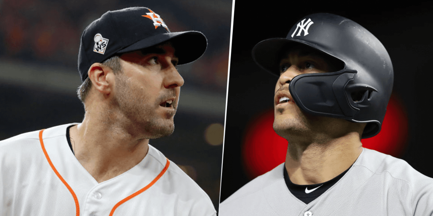 Justin Verlander y Giancarlo Stanton (Getty Images)