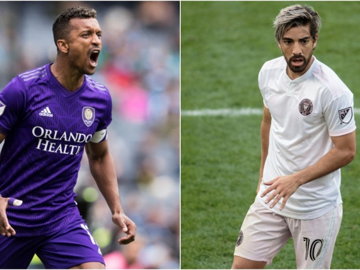 Nani de Orlando City SC y Rodolfo Pizarro de Inter Miami CF. (Getty)