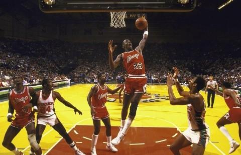 Michael Jordan en su primera temporada con los Bulls (Getty Images)