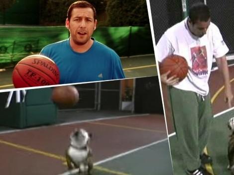 Adam Sandler jugó al basket contra su perro y el video se hizo viral en las redes