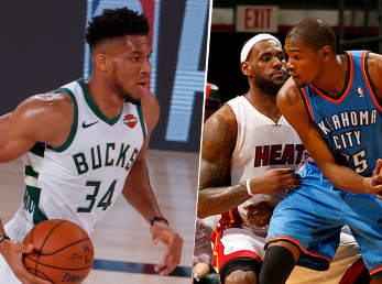 Giannis Antetokounmpo, LeBron James y Kevin Durant (Getty Images)