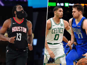 James Harden, Jayson Tatum y Luka Doncic (Getty Images)