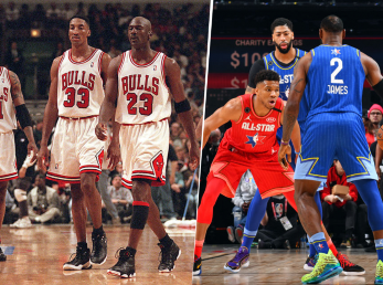 Jordan, Pippen, Rodman, Antetokounmpo, James y Davis (Getty Images)