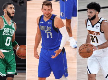 Jayson Tatum, Luka Doncic y Jamal Murray (Getty Images)
