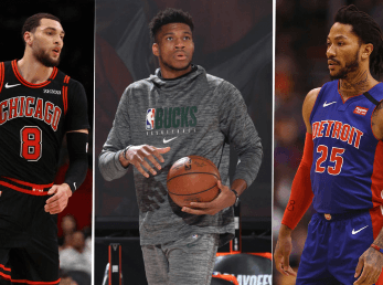 Zach LaVine, Giannis Antetokounmpo y Derrick Rose (Getty Images)