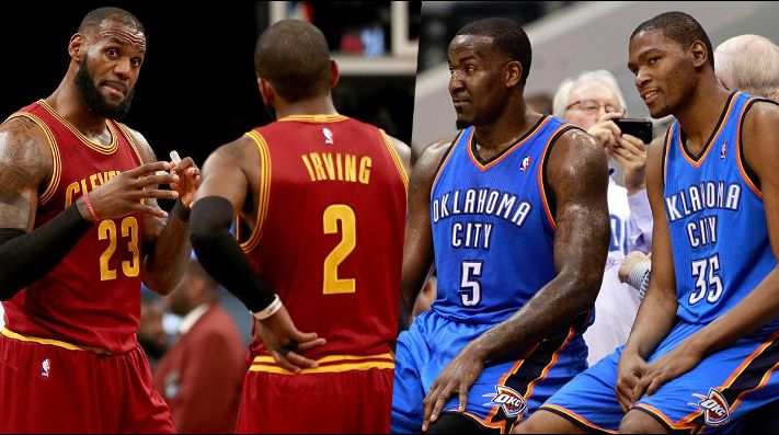 LeBron James, Kyrie Irving, Kendrick Perkins y Kevin Durant