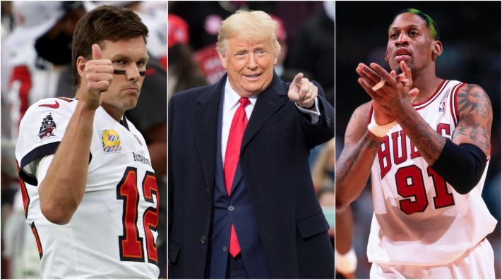 Tom Brady, Donald Trump y Dennis Rodman