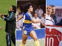 Foto de las imágenes que subieron los equipos con Diego Maradona.