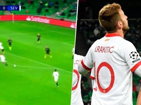 El sueño de todos: agarrar el balón de volea como Rakitic contra Krasnodar