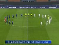 Video: el minuto de silencio en Inter vs Real Madrid en honor a Diego Maradona