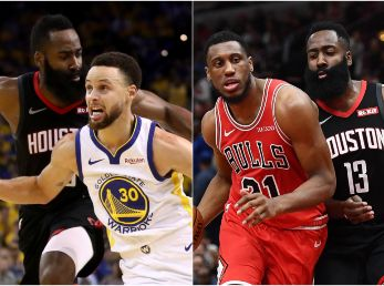 Stephen Curry, James Harden y Thaddeus Young