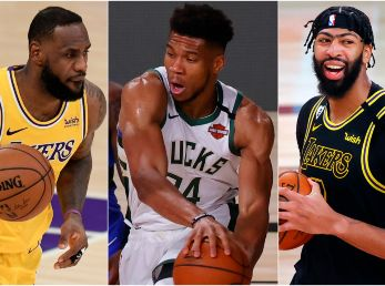LeBron James, Giannis Antetokounmpo y Anthony Davis