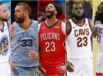 Stephen Curry, Marc Gasol, Anthony Davis, LeBron James y James Harden