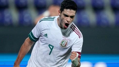 Mexico's Raúl Jiménez celebrates after scoring a goal (Getty).