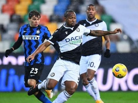 Udinese se metió atrás e Inter no pudo aprovechar el traspié del Milan