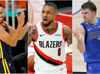 Stephen Curry, Damian Lillard y Luka Doncic (Foto: Getty)