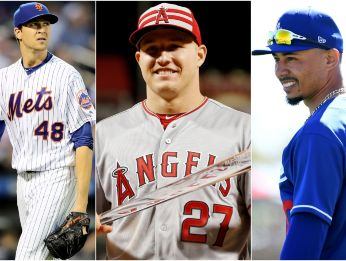 Jacob deGrom, Mike Trout y Mookie Betts