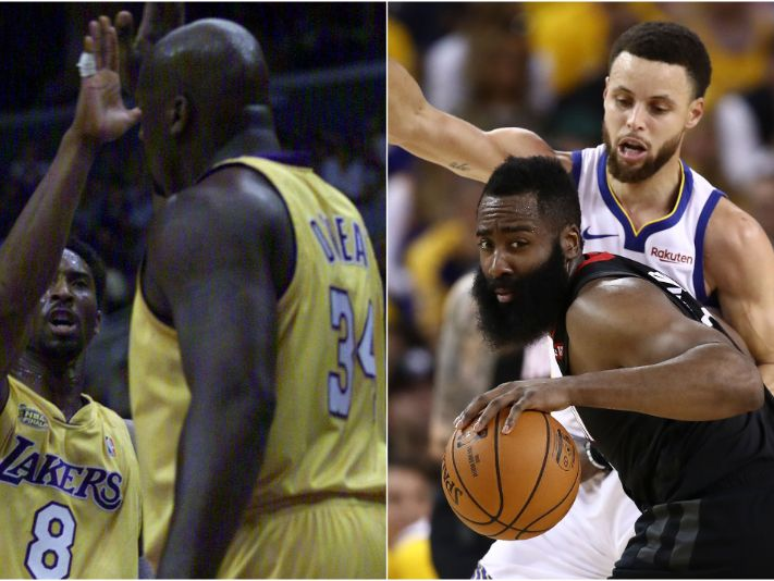 Kobe Bryant, Shaquille O'Neal, Stephen Curry y James Harden
