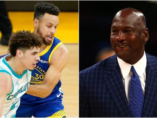 LaMelo Ball, Stephen Curry y LeBron James
