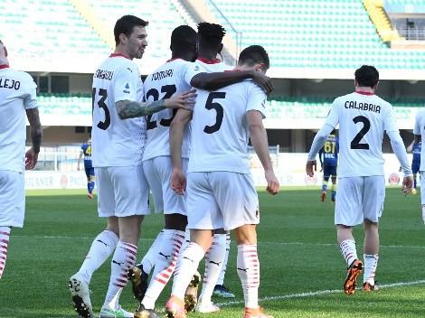 Milan le ganó 2 a 0 al Hellas Verona y le metió presión al Inter