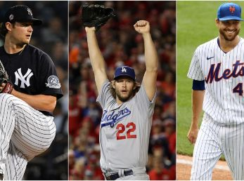 Gerrit Cole, Clayton Kershaw y Jacob deGrom