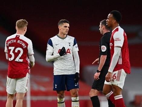 Lamela metió un golazo, Arsenal lo dio vuelta y Erik terminó expulsado