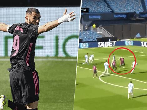 Video: a Benzema le dieron un metro, la puso al lado del palo y destrabó el partido ante el Celta