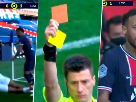 Expulsaron a Neymar con PSG: el árbitro cobró lateral y él le pegó a un rival