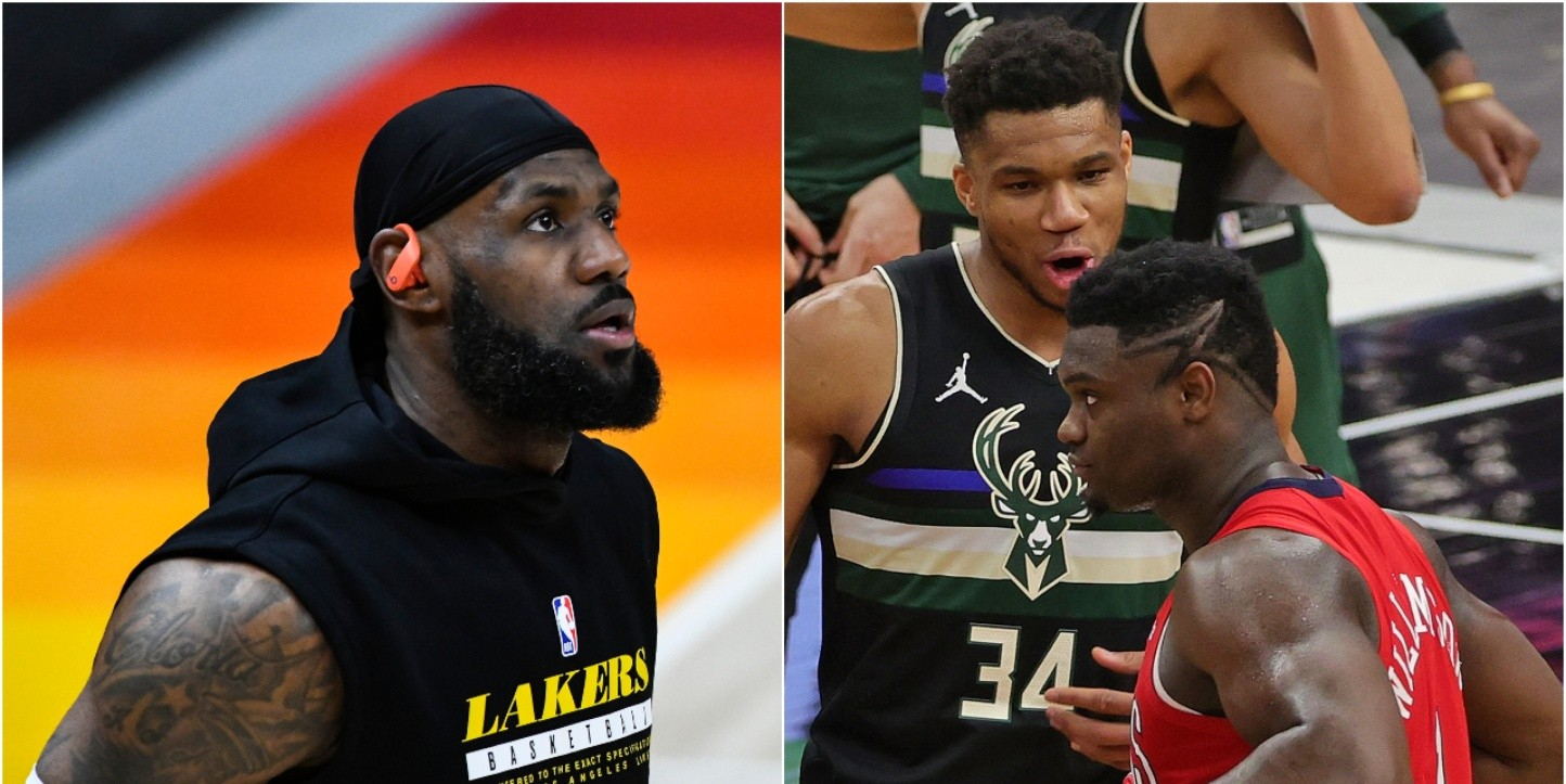 LeBron James, Giannis Antetokounmpo y Zion Williamson