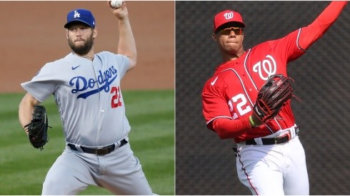Clayton Kershaw (left) of the Los Angeles Dodgers and Juan Soto (right) of the Washington Nationals.
