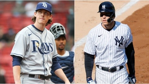 Ryan Yarbrough (left) of the Tampa Bay Rays and  Aaron Judge (right) of the New York Yankees.