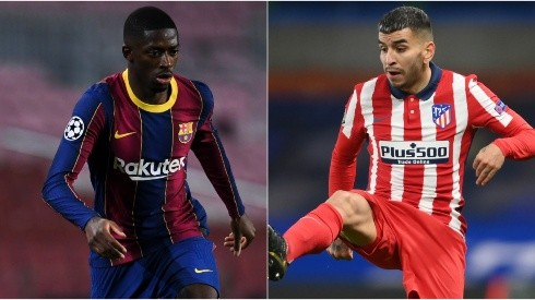 Ousmane Dembele of Barcelona (left) and Angel Correa of Atletico Madrid (right).