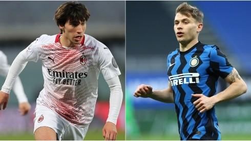 Sandro Tonali of Milan (left) and  Nicolo Barella of Inter (right).