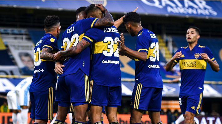 El festejo de los jugadores de Boca.