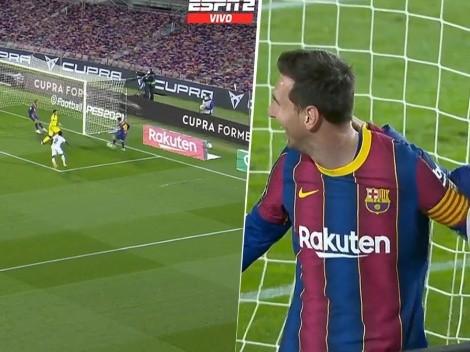 Messi tiró una pared con el palo y gol: terminó abrazado al alcanzapelotas