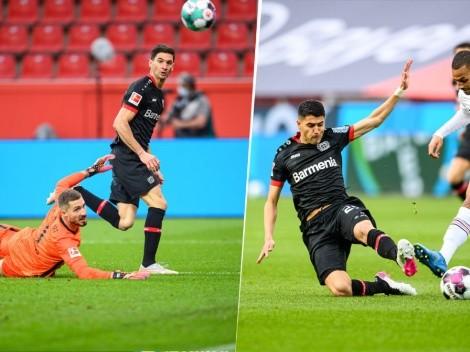 Partidazo de los ex River del Bayer: Alario metió un gol y Palacios la rompió