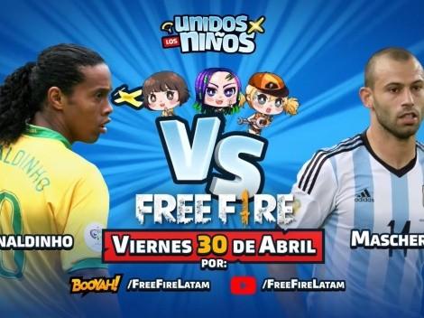 Ronaldinho y Mascherano jugarán Free Fire en directo este viernes por una causa noble
